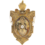 Victorian Etruscan Style Diamond Locket - 10k Yellow Gold Antique Mine Cut .24ct