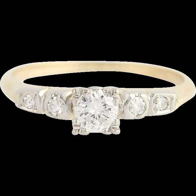 Art Deco Diamond Engagement Ring - 14k Yellow & White Gold Round Cut .43ctw