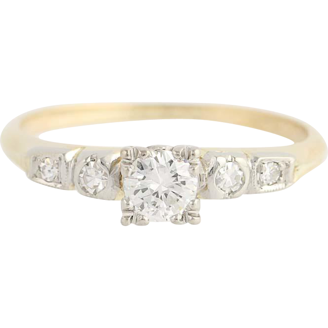 Art Deco Diamond Engagement Ring - 14k Yellow & White Gold Round Cut .43ctw