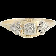 Art Deco Diamond Ring - 14k Yellow & White Gold European Cut Vintage .04ctw