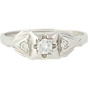 Art Deco Diamond Engagement Ring - 14k White Gold European Cut Vintage .16ctw