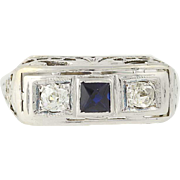 Art Deco Sapphire & Diamond Ring - 18k Gold Square Vintage September .27ctw