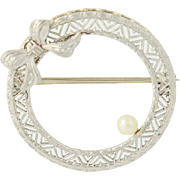 Art Deco Wreath Brooch - 14k White Gold & Platinum Bow Seed Pearl Accent Vintage
