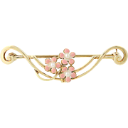 Vintage Pink & White Flower Brooch - 14k Yellow Gold Seed Pearls & Enamel Pin