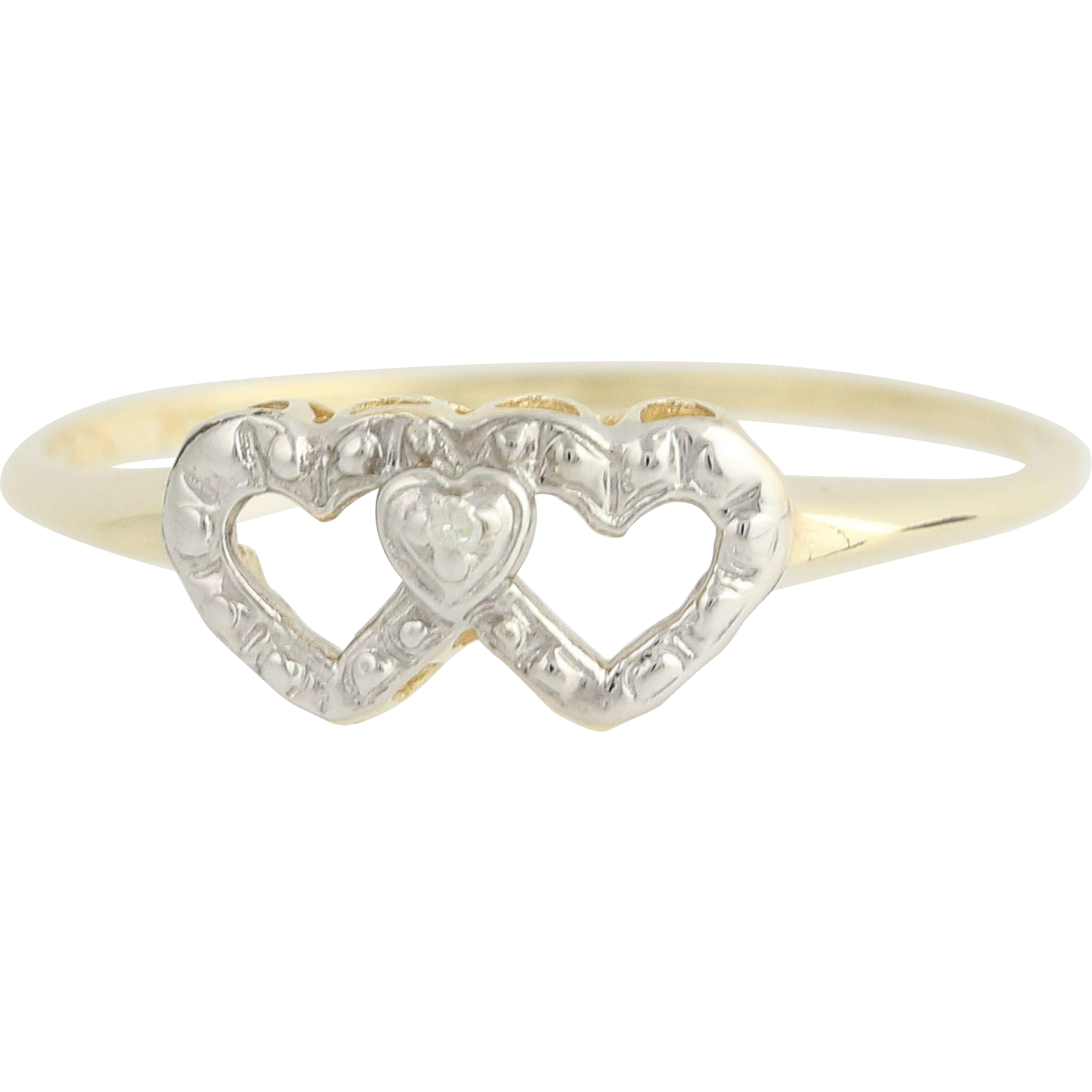 Vintage Heart Ring - 10k Yellow & White Gold Diamond Accent