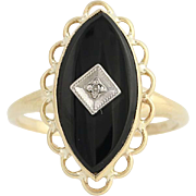 Onyx & Diamond Ring - 10k Yellow & White Gold Women's Size 6