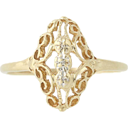Diamond-Accented Ring - 10k Yellow Gold Size 8 1/2 Vintage Style .01ctw