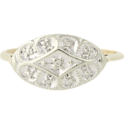 Vintage Diamond Ring - 10k Yellow & White Gold Size 8 Women's .02ctw
