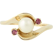 Cultured Pearl & Ruby Ring - 10k Yellow Gold June July Gift Bypass .10ctw