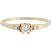 Cubic Zirconia Engagement Ring - 10k Yellow Gold Round Solitaire w/ Accents