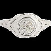 Art Deco Diamond Engagement Ring - 18k Gold Vintage Single Cut Cluster .07ctw