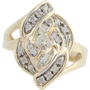 Diamond Bypass Ring - 10k Yellow Gold Round Cut .50ctw