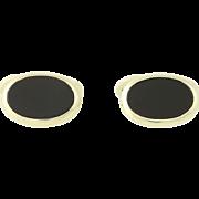 Onyx Cufflinks - 8k Yellow Gold Vintage Cuff Links Men's Oval Black Stone