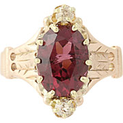 Victorian Garnet & Diamond Ring - 10k Rose Gold Women's Size 6 Antique 3.49ctw