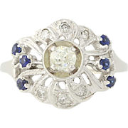Vintage Diamond & Sapphire Ring - 14k White Gold Mine Cut .59ctw