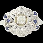 Vintage Diamond & Sapphire Ring - 14k White Gold Mine Cut .59ctw