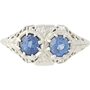 Art Deco Sapphire Ring - 18k White Gold September Birthstone Vintage .79ctw