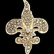 Edwardian Seed Pearl & Diamond Watch Pin / Brooch- 14k Yellow Gold Vintage .03ct