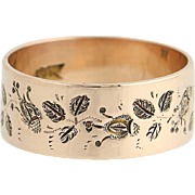 Etched Victorian Band Ring - 14k Yellow Gold Floral Design Women's Antique