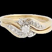 Diamond Engagement Ring & Wedding Band - 14k Gold Round Cut Bypass .14ctw