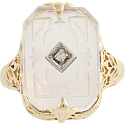 Vintage Carved Rock Crystal & Diamond Ring - 14k Yellow & White Gold .02ct