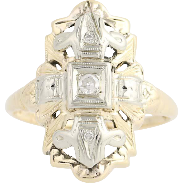 Art Deco Diamond Ring - 14k Yellow & White Gold Size 5 Vintage .05ctw