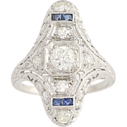 Art Deco Diamond & Synthetic Sapphire Ring- Platinum European Cut Vintage .68ctw