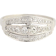 Retro Diamond Ring - 14k White Gold Women's Vintage .33ctw