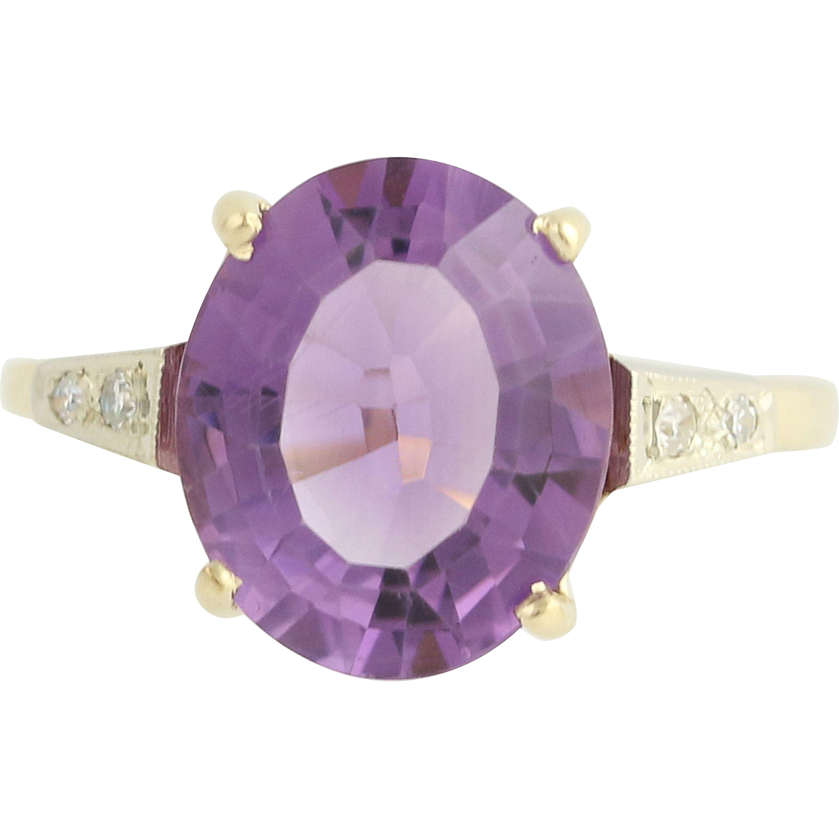 Vintage Amethyst & Diamond Ring - 14k Yellow & White Gold 4.61ctw
