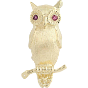 Owl Brooch - 14k Yellow Gold Textured Finish with Ruby Accents .12ctw