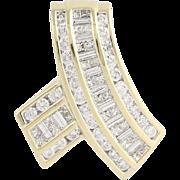 "Diamond ""Ribbon"" Slide Pendant - 14k Gold Baguette Cut Princess Cut 2.50ctw"
