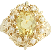 Yellow Beryl & Cultured Pearl Cocktail Ring - 14k Yellow Gold 3.82ct