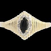 Onyx & Diamond Ring - 10k Yellow & White Gold 8 1/2 Halo .06ctw