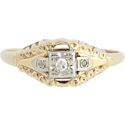 Art Deco Diamond Ring - 14k Yellow & White Gold Promise Ring Single Cut .04ctw
