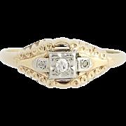 Art Deco Diamond Ring - 14k Yellow & White Gold Promise Ring Single Cut .04ctw