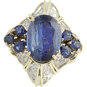 Kyanite, Sapphire, & Diamond Cocktail Ring - 14k Yellow & White Gold 8.00ctw