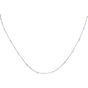 Diamond Necklace - 14k White Gold Adjustable Cable Chain Bezel Set .42ctw