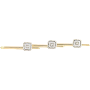 Art Deco Mother of Pearl & Diamond Shirt Studs - 14k Gold & Platinum .06ctw