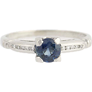 Art Deco Sapphire & Diamond Engagement Ring - 900 Platinum Round Cut .45ctw