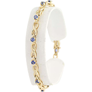 "Sapphire Link Bracelet 6 3/4"" - 14k Yellow Gold September Birthstone 1.20ctw"