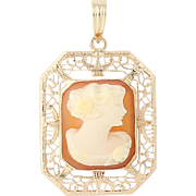 Vintage Carved Shell Cameo Pendant - 10k Yellow Gold Filigree Women's Silhouette