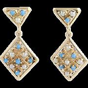 Turquoise & Cultured Pearl Drop Earrings - 14k Gold June December Birthstones