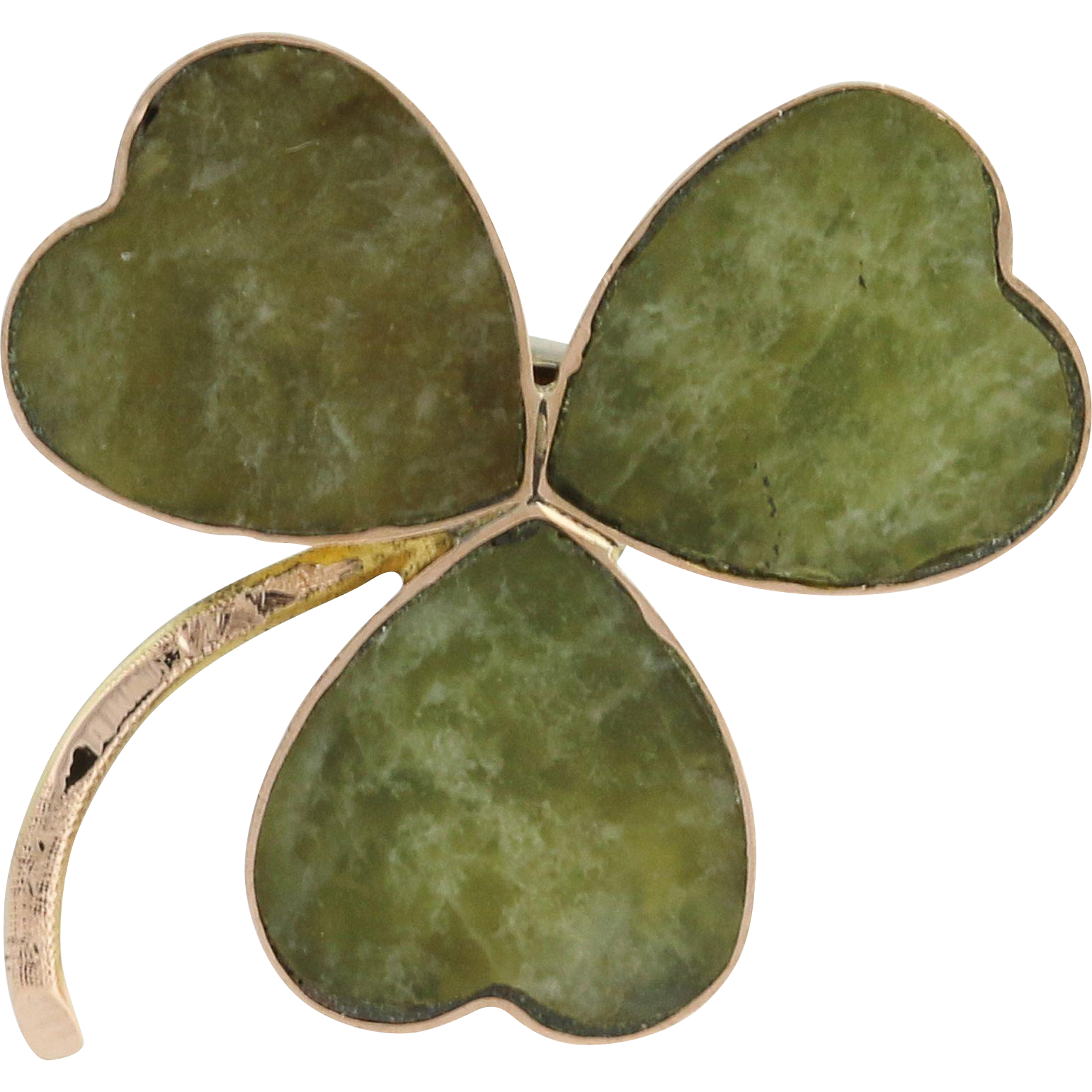 Irish Connemara Marble Clover Brooch - 9k Yellow Gold Antique 1906