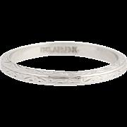 Art Deco Belais Wedding Band - 18k White Gold Etched Vintage Ring Size 5