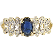Sapphire & Diamond Ring - 14k Yellow & White Gold September Birthstone .72ctw