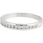 Diamond Wedding Band - 14k White Gold Women's Ring Channel Set Round Cut .26ctw