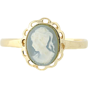 Cameo Ring - 10k Yellow Gold Resin Women's Oval Female Bust Gray White