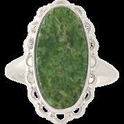 Vintage Nephrite Jade Ring - 10k White Gold Scallop Border Women's Size 4 1/2