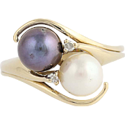 Cultured Black & White Pearl Bypass Ring- 14k Yellow Gold Diamond Accents .03ctw