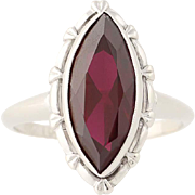 Vintage Synthetic Ruby Ring - 10k White Gold Women's Size 5 1/2